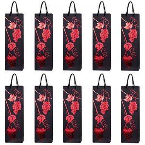 10 sacs à bouteilles sacs à cadeaux pour vin, prosecco et champagne 40 x 12 x 9 cm - vigne rouge - vin rouge de la marque DonDon image 0 produit