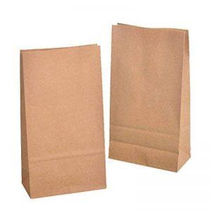10 sacs en papier avec fond marron 12 x 6 x 22 cm., 70 g/m² Sachets sacs en papier kraft , emballage de pain de biscuits de boulangerie de pâtisserie de bonbons et noix de la marque KGpack image 0 produit