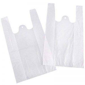 100/200 Sacs en plastique à poignées Sachet housse pochette Shopping cadeau boutique courses supermarché blanc/bleu de la marque Anladia image 0 produit