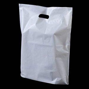 100X blanc solide poignée 'Patch' de sacs en plastique–25,4x 30,5x 10,2cm (Petit) Unipack marque–unibags de la marque unibags image 0 produit