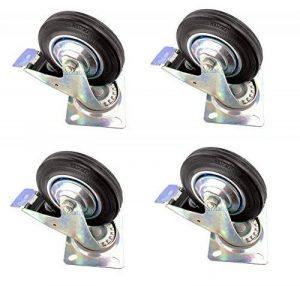 4 x 100mm Roulette de guidage frein à main Roues pour meubles TRANSPOR avec plaque chariot appareils chaise plage schwenkrollen Caoutchouc de la marque DWT-Germany image 0 produit