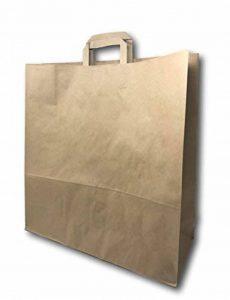 50 Grands Sacs Papier kraft marron écru avec poignée 36 litres largeur 45 cm , hauteur 47 cm, soufflet 17- sac cabas à anse plate solide, résistant papier 100g non imprimé ref UGSE33PP1F (50) de la marque UNIVERS GRAPHIQUE image 0 produit