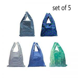 Ahyuan Lot de 5pliable et sac à provisions réutilisable 100% Ripstop Nylon épais pour le shopping de voyage extérieur, 58,4x 35,6cm de la marque Ahyuan image 0 produit