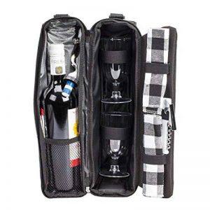 ALLCAMP Deluxe Sac à vin noir avec accessoires pour le vin, sac fourre-tout à vin pour deux personnes (noir) de la marque ALLCAMP image 0 produit