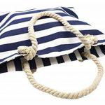ATB06 - Grand Sac Cabas de Plage avec Imprimé Rayures Bleu Marine et Anses Corde Torsadée de la marque Oh My Shop image 1 produit