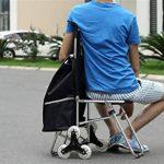 BHXUD Chariot Dolly Shopping Épicerie Pliable Chariot Supermarché Charrette 3 Roues Utilitaire Chariot De Voyage Fournitures Siège,Black de la marque BHXUD image 4 produit