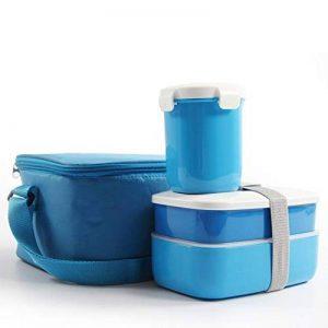 Boîte à Lunch Boîtes Bento Plastique PlUIESOLEIL Avec 2 conteneurs 1 bouteille et Sac en Coton Epais Epais (bleu) de la marque PluieSoleil image 0 produit