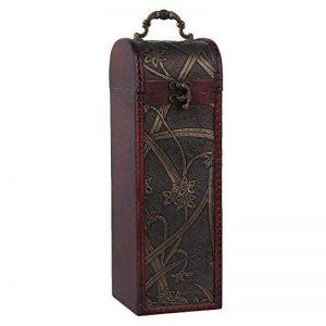 bqlzr Bouteille de vin vintage en bois naturel Boîte Coffret Cadeau pour 1bouteille avec motif jonquille Cylindre rectangulaire avec manche de la marque BQLZR image 0 produit