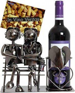 BRUBAKER Porte-bouteille de Vin décoratif - Sculpture en Métal - Idée cadeau - Couple sur le Banc de la marque Brubaker image 0 produit