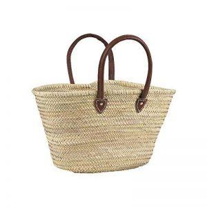 cabas naturel en palmier anses en cuir L.env.55 , cabas de courses , cabas de marché de la marque AUBRY GASPARD image 0 produit