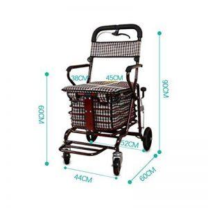 Caddie de courses Elderly Scooter Folding Shopping Cart Seat peut prendre quatre tours pour acheter de la nourriture pour aider à pousser un petit chariot chariot âgé chariot (Couleur : D-Red) de la marque CADDIE image 0 produit