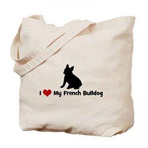 CafePress–I Love My Bouledogue français Sac fourre-tout Naturel–Sac en toile, tissu, Sac de courses Cabas S kaki de la marque CafePress image 0 produit