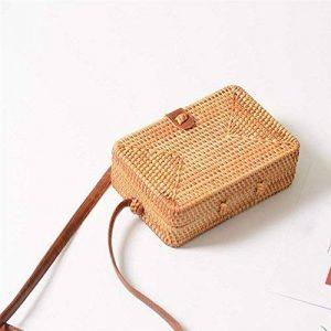 Camphiking® Sac rond carré fait à la main en rotin Sac à bandoulière tissé en rotin Sac de plage de la marque CampHiking® image 0 produit