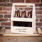 Casa Vivente - Porte-bouteille avec gravure - Sac à main de Papa - Standard - Caisse à bouteilles de bières et de vin - Support en bois pour 6 bouteilles - Cadeau de fête des pères - Cadeau d'anniversaire de la marque Casa Vivente image 2 produit