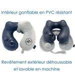 Coussin de voyage RelFit – Oreiller cervicales gonflable ergonomique de qualité PREMIUM, Tour de nuque avec En CADEAU : masque sommeil + bouchons d'oreilles - Kit confort pour dormir en voiture/avion de la marque RelFit image 3 produit