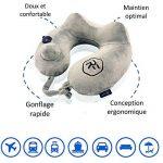 Coussin de voyage RelFit – Oreiller cervicales gonflable ergonomique de qualité PREMIUM, Tour de nuque avec En CADEAU : masque sommeil + bouchons d'oreilles - Kit confort pour dormir en voiture/avion de la marque RelFit image 2 produit