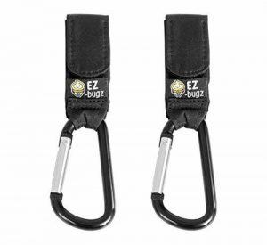 Crochets de poussette par EZ-Bugz. Mousquetons/clips pour accrochez vos achats, sacs et cabas sur un landau. Universel, Noir, Pack de 2 de la marque EZ-Bugz image 0 produit