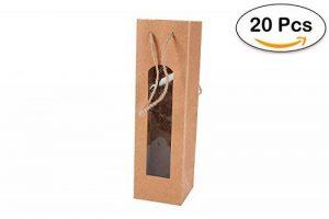 DISOK Lot de 20 sacs pour bouteille de vin Papier kraft avec fenêtre Couleur Marron- de la marque DISOK image 0 produit