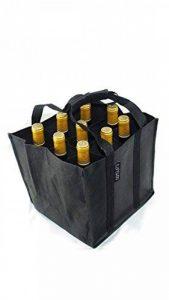 Dom'Suits Grand sac à bouteilles Grand format Contient max. 9 bouteilles de 1,5 litre chacune –Porte-bouteilles avec poignée renforcée–Facile à ranger–28x 28x 28cm–En noir de la marque Dom'Suits image 0 produit