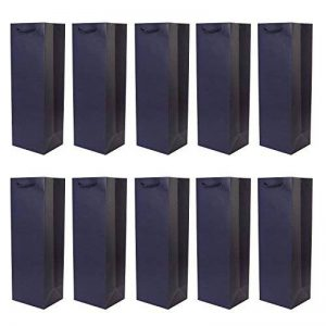 DonDon - Lot de 10 pochettes cadeaux sacs de bouteilles bleu foncé pour vin et champagne 36x12x10 cm de la marque DonDon image 0 produit