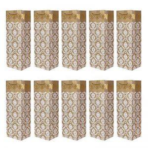 DonDon - Lot de 10 pochettes cadeaux sacs de bouteilles couleur or pour vin et champagne 36x12x10 cm de la marque DonDon image 0 produit