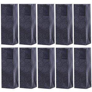 DonDon - Lot de 10 pochettes cadeaux sacs de bouteilles noir pour vin et champagne 36x12x10 cm de la marque DonDon image 0 produit