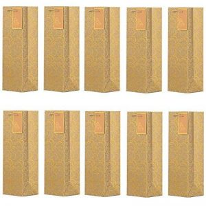 DonDon - Lot de 10 pochettes cadeaux sacs de bouteilles or pour vin et champagne 36x12x10 cm de la marque DonDon image 0 produit