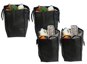 Ensemble 4 pièces Cherlex Fourre-tout grand format réutilisable Cherlex, 2 fourre-tout isothermes, sac de courses éco pliable avec fermeture à glissière, 2 sacs de courses réutilisables inclus (noir) de la marque Cherlex image 0 produit
