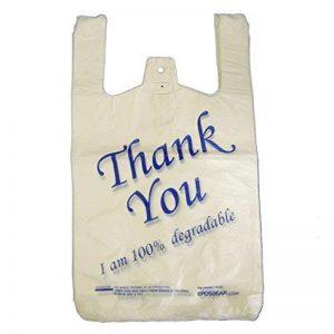 Eposgear® Lot de 100–Large Blanc/bleu Thank You 100% biodégradables Eco Sacs en plastique de la marque EPOSGEAR image 0 produit