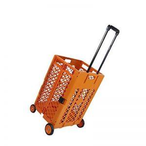 GAOYANG Pliable Chariot Roulant, La Grille Chariot À roulettes Pratique Portable Supermarché Domestique Caddie, Grande Capacité, Noir (43.5 * 39 * 100cm) (Couleur : Orange) de la marque GAOYANGgouwuche image 0 produit