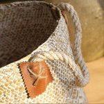 Gezichta tressé Naturel Jonc de mer Panier Panier de paille avec poignées pour le rangement, linge, pique-nique, Housse de pot, Pot de fleurs Vase, Corbeille à papier, et sac de plage, blanc, 19*21*25cm de la marque GEZICHTA image 4 produit