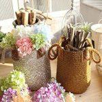 Gezichta tressé Naturel Jonc de mer Panier Panier de paille avec poignées pour le rangement, linge, pique-nique, Housse de pot, Pot de fleurs Vase, Corbeille à papier, et sac de plage, blanc, 19*21*25cm de la marque GEZICHTA image 1 produit