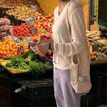 IHUIXINHE Sac d'achat Shopping en Filet de Ficelle de Coton à Provisions Réutilisable Poche de Fruits épicerie Sac de Course Shopping Sac en Filet - Beige de la marque IHUIXINHE image 4 produit