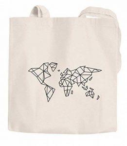 Jute Sacs Carte du monde World Map Low Polygon Sac en tissu Cabas en coton Autiga®, Polygon Weltkarte Natur, 2 lange Henkel de la marque Autiga image 0 produit