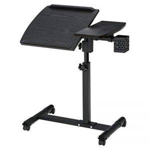 LANGRIA Table pour Ordinateur à roulettes Pliable Portable Hauteur Réglable Panier de Rangement latéral avec Support de Souris Latéral Inclinable 180° 4 roulettes Verrouillables de la marque LANGRIA image 0 produit