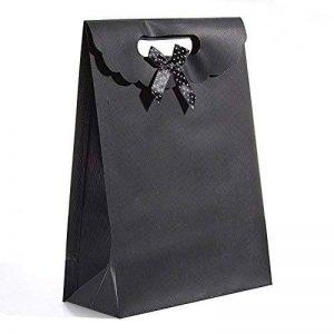 Lot de 10sacs cadeau en plastique coloré Bowknot faveurs boîte cadeau fête Noël Mariage Emballage Bijoux sac bonbons stockage sac avec fermeture Velcro Noir de la marque Wilotick image 0 produit