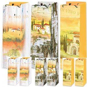 Lot de 9sacs cadeau pour bouteille de vin vin Sac Pochette Sac cadeau weintragetasche Cave à Vin Prosecco Mediterran haute qualité Mat Film de la marque Artline Edition GmbH image 0 produit