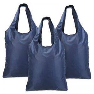 Luxja sac courses reutilisable, sac shopping pliable, sac pour courses, ECO sac, lavable, durable, léger, 3pcs, Marine de la marque Luxja image 0 produit