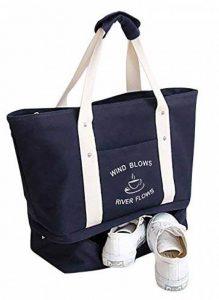 Malirona Grand sac fourre-tout à sac 2-en-1 Sac fourre-tout à la plage avec chaussures Organiseur Canvas Sac de plage de la marque Malirona image 0 produit