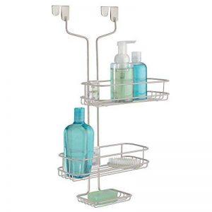 mDesign rangement de douche suspendu – étagère de douche pratique – montage sans perçage – paniers de douche ajustables en acier affiné pour tout accessoire de douche de la marque MetroDecor image 0 produit