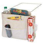 mDesign sac de chevet à accrocher – poche de lit spacieuse en coton – avec 3 poches – sac de rangement pratique pour la bouteille d'eau, télécommande, tablette, montre ou autres – beige de la marque MetroDecor image 2 produit