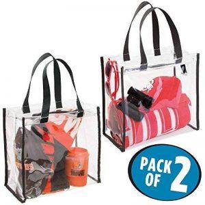 mDesign sac de voyage pour transport d'accessoires (lot de 2) – sac de plage pour produits de soins ou cosmétiques – sac cabas spacieux et pratique en vinyle PVC et polyester – transparent/noir de la marque MetroDecor image 0 produit