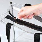mDesign sac de voyage pour transport d'accessoires (lot de 2) – sac de plage pour produits de soins ou cosmétiques – sac cabas spacieux et pratique en vinyle PVC et polyester – transparent/noir de la marque MetroDecor image 2 produit