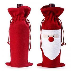Négocier et petit, Sac de bouteille de vin de Noël étui à cordon de papier cadeau dîner de fête de Noël Boisson Pouch Decor 1 Pack Red Santa de la marque Ragetorc image 0 produit