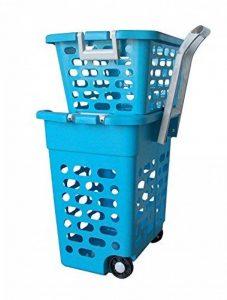 Panier à linge sur roulettes bleu avec poignée rétractable, 2 casiers, trieur blanchisserie, couleur, lingerie caddie pour shopping (22218) de la marque Wilai image 0 produit