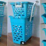 Panier à linge sur roulettes bleu avec poignée rétractable, 2 casiers, trieur blanchisserie, couleur, lingerie caddie pour shopping (22218) de la marque Wilai image 4 produit