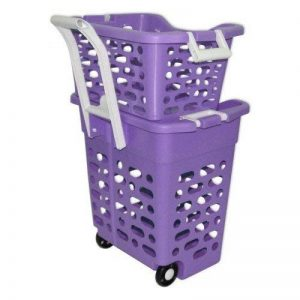 Panier à linge sur roulettes Violet avec poignée rétractable, 2 casiers, trieur blanchisserie, couleur, lingerie caddie pour shopping (22261) de la marque Wilai image 0 produit