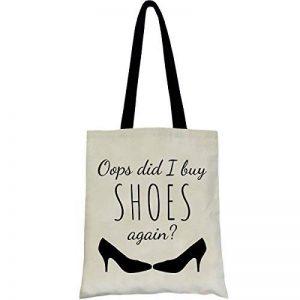 PREMYO Tote bag en coton imprimé avec citation et motif drôle. Sac shopping avec impression Oops Shoes. Sac de courses réutilisable en tissu et anses longues. Sac fourre-tout. Sac cabas en toile de la marque PREMYO image 0 produit