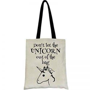 PREMYO Tote bag en coton imprimé avec licorne et citation drôle. Sac shopping avec impression licorne. Sac de courses réutilisable en tissu et anses longues. Sac fourre-tout. Sac cabas en toile de la marque PREMYO image 0 produit
