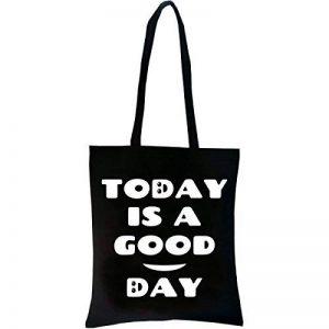 PREMYO Tote bag en coton noir imprimé avec citation et motif drôle. Sac shopping avec impression Good Day. Sac de courses réutilisable en tissu et anses longues. Sac fourre-tout. Sac cabas en toile de la marque PREMYO image 0 produit
